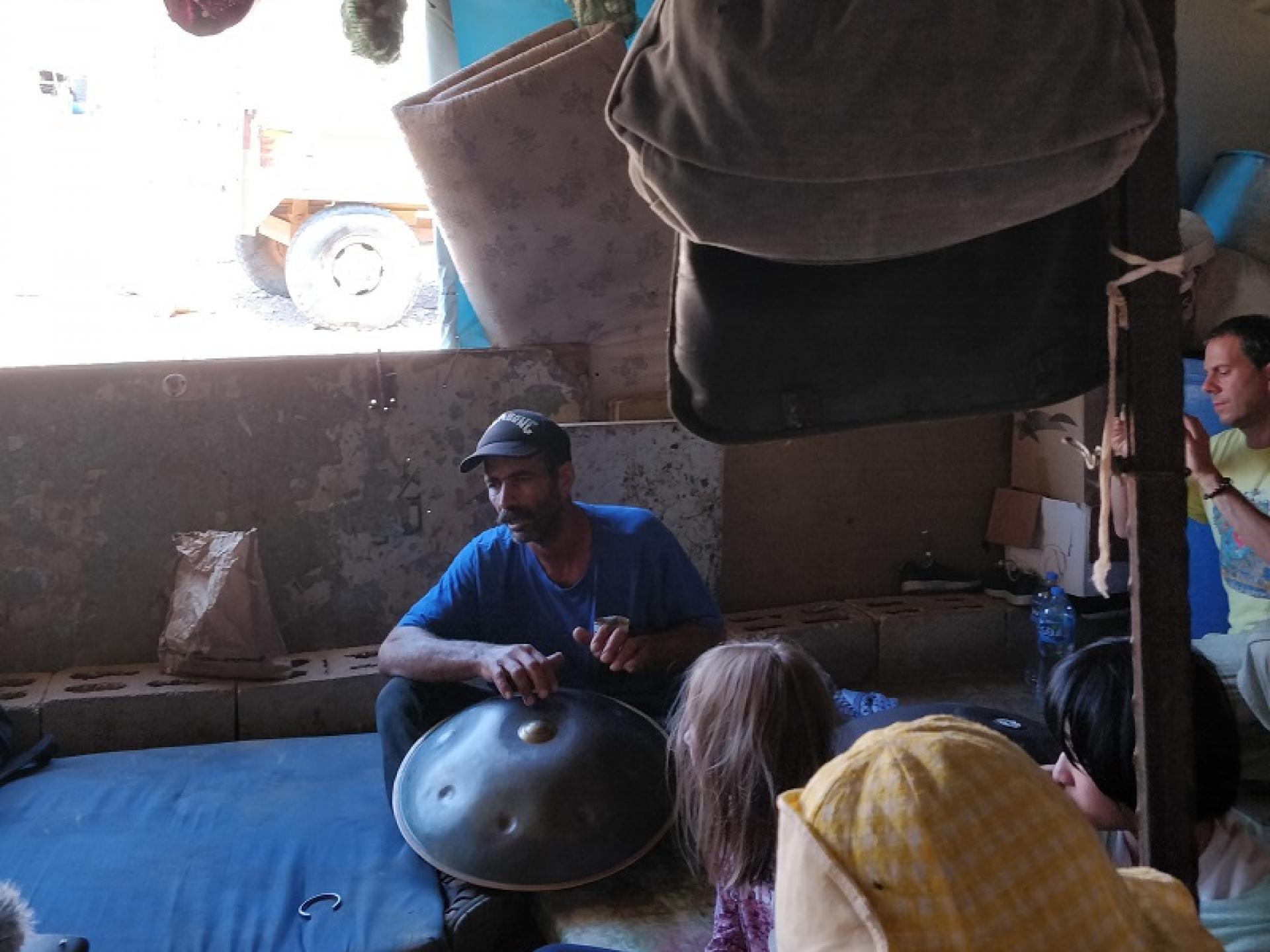 The Palestinian Jordan Valley: Bourhan drumming the Tam Tam