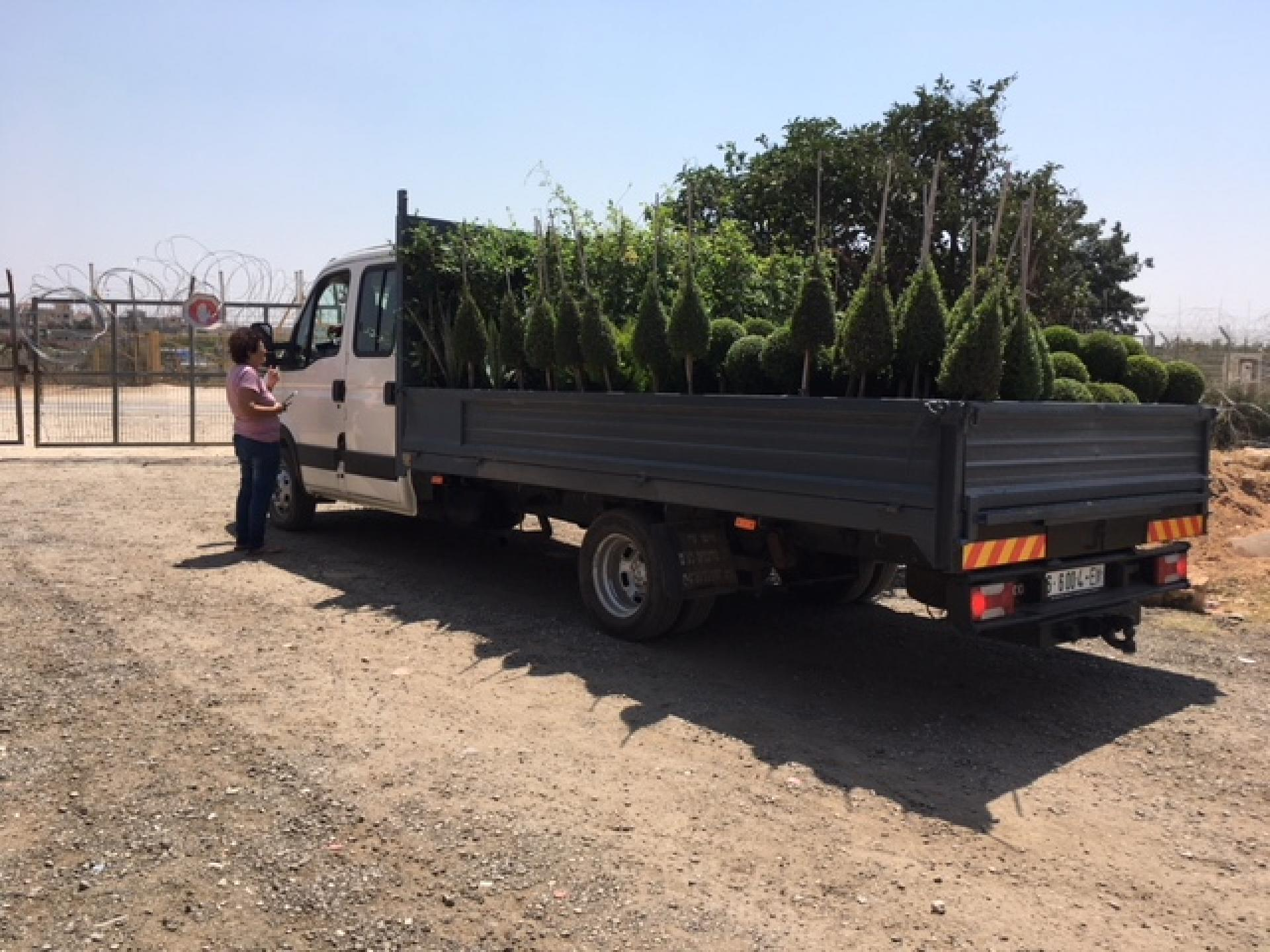 Micky speaking with the driver who's bringing plants to Habla