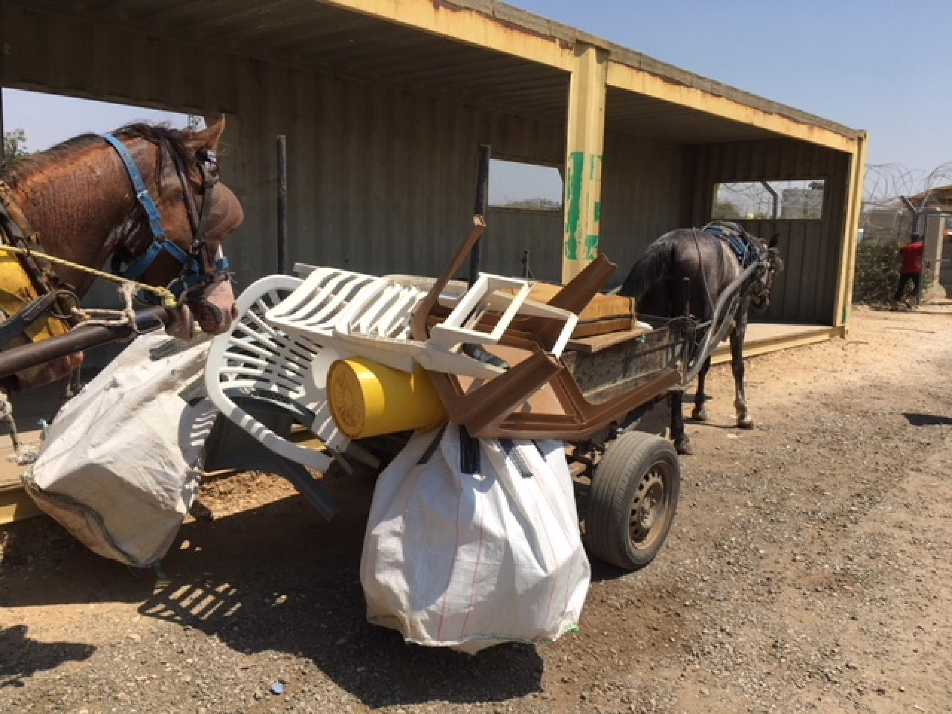 A loaded cart on the way to the checkpoint