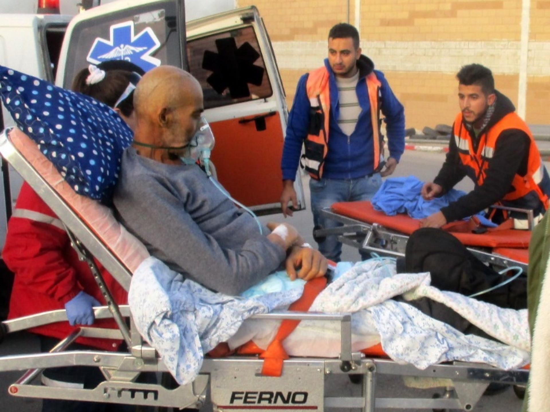 Waiting for an ambulance from the West Bank