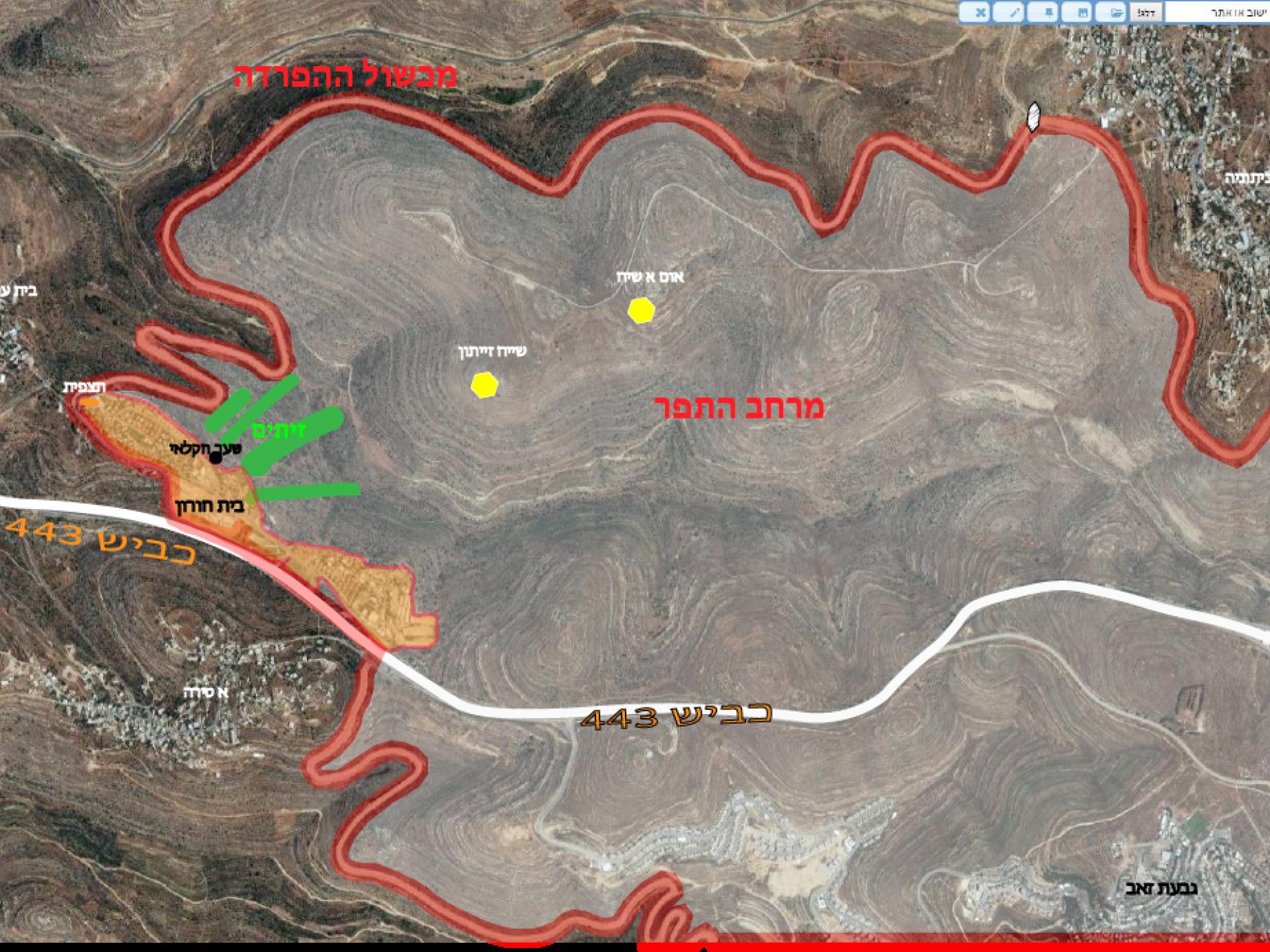 מרחב התפר: אתרים קדושים, מטעי זיתים בבעלות פלסיטינים - מעבר לגדר