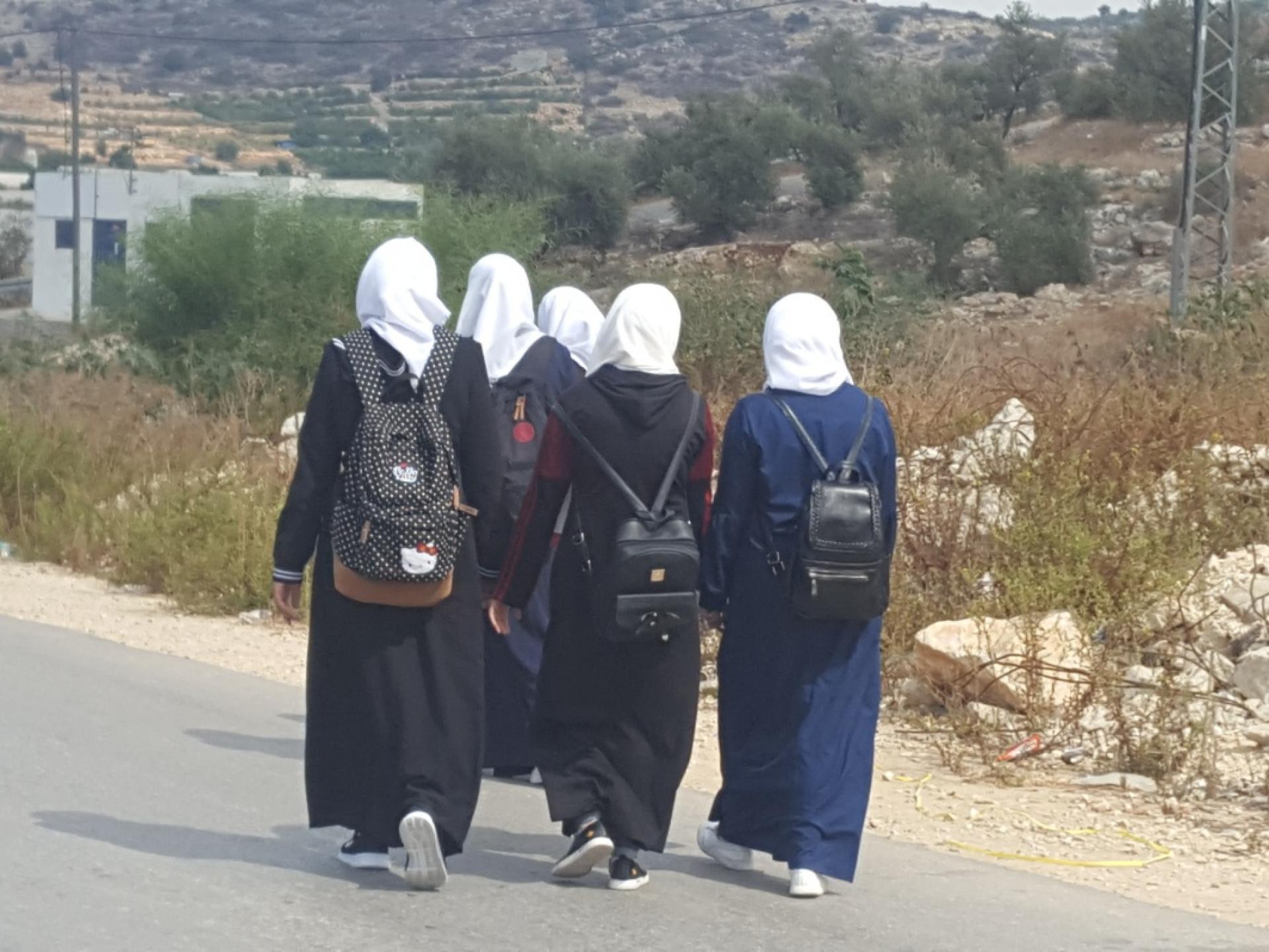 Schoolgirls on their way home