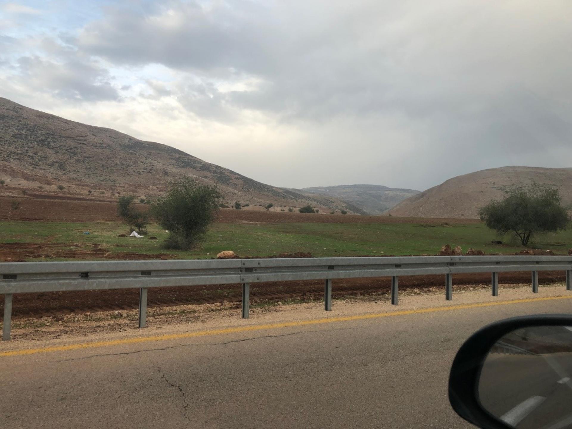 בקעת הירדן - יום גשום לפרקים, ההרים החלו להוריק, אפשר לצאת עם הצאן למרעה