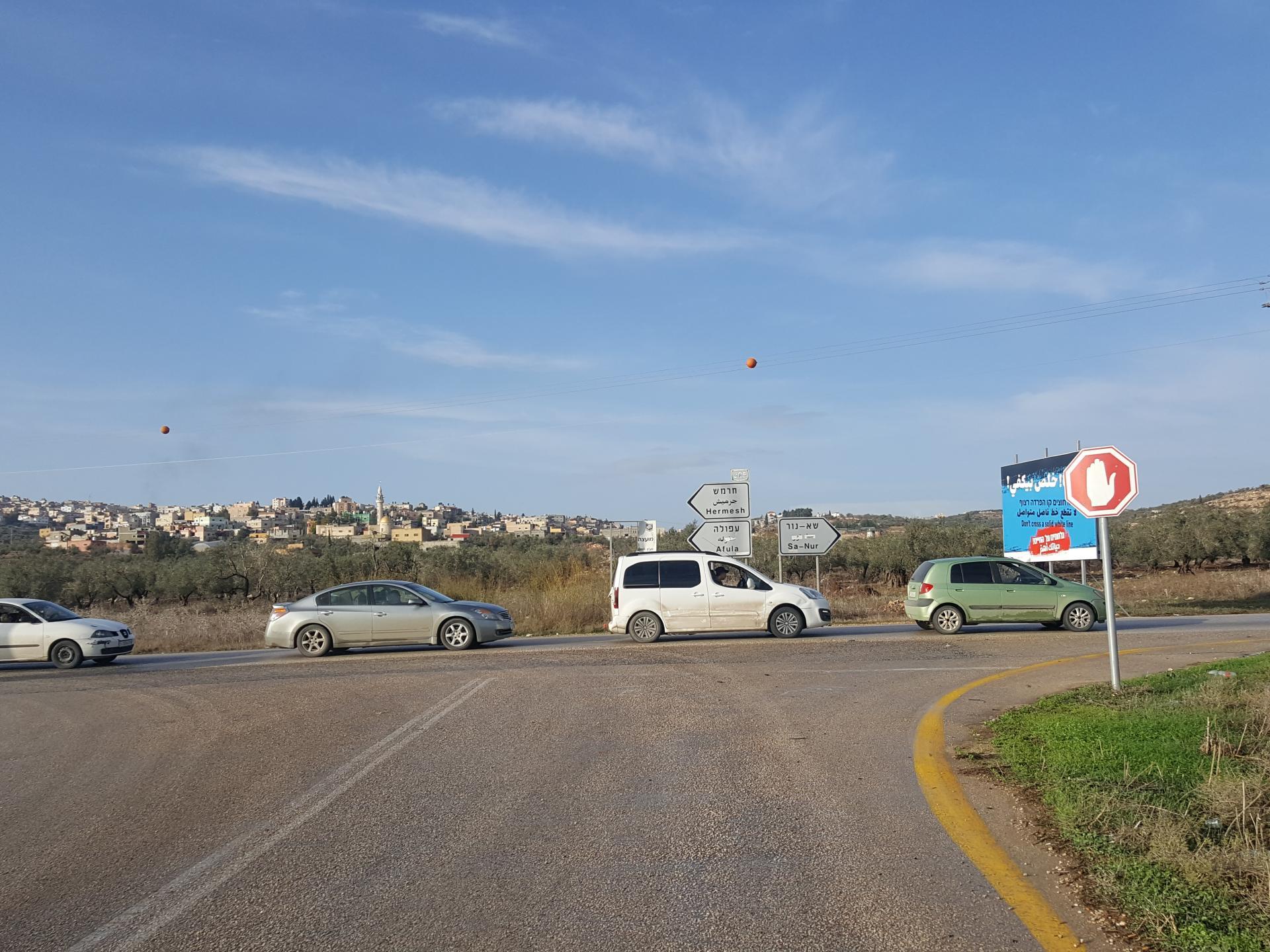 מחסום יעבד: טור מכוניות בדרך לג'נין