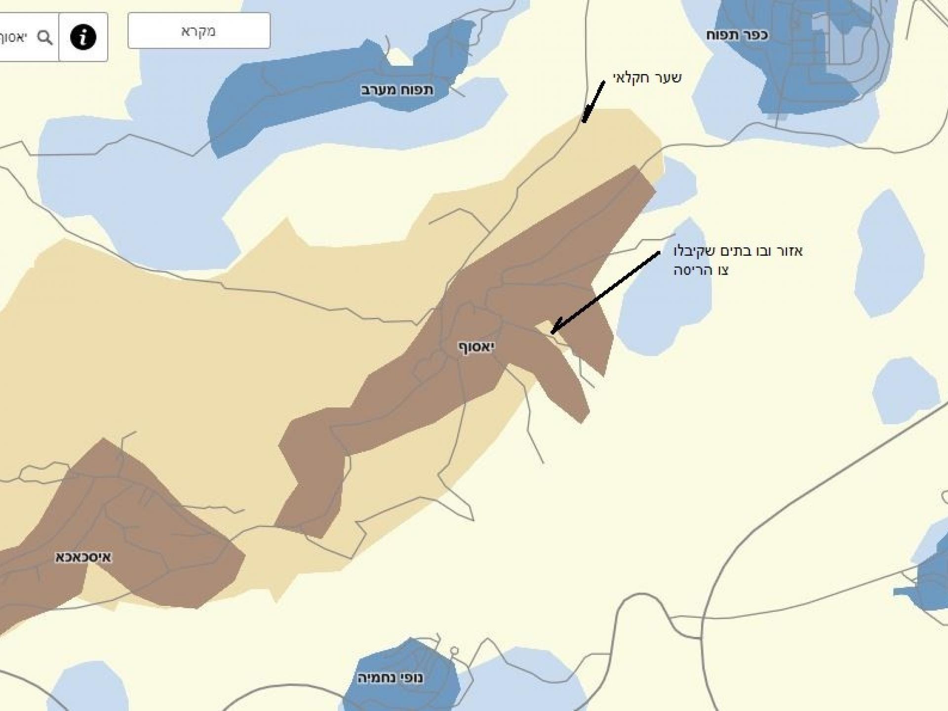 אזור כפר יאסוף: מסומנים הבתים שקיבלו צו הריסה והשער החקלאי החסום