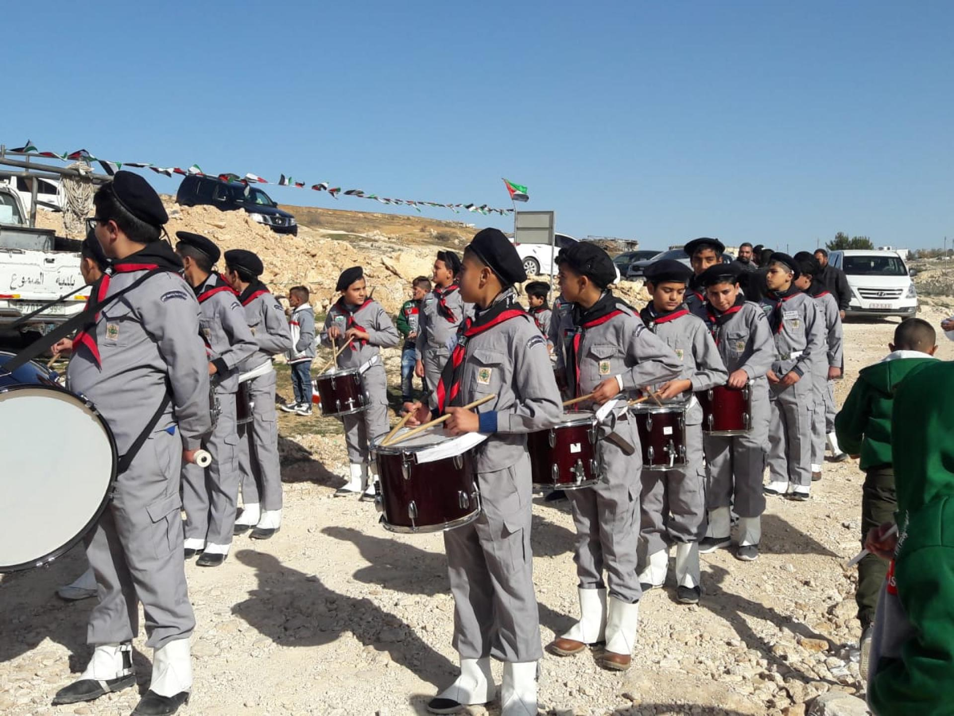 Drummers in scout uniform at the ceremony