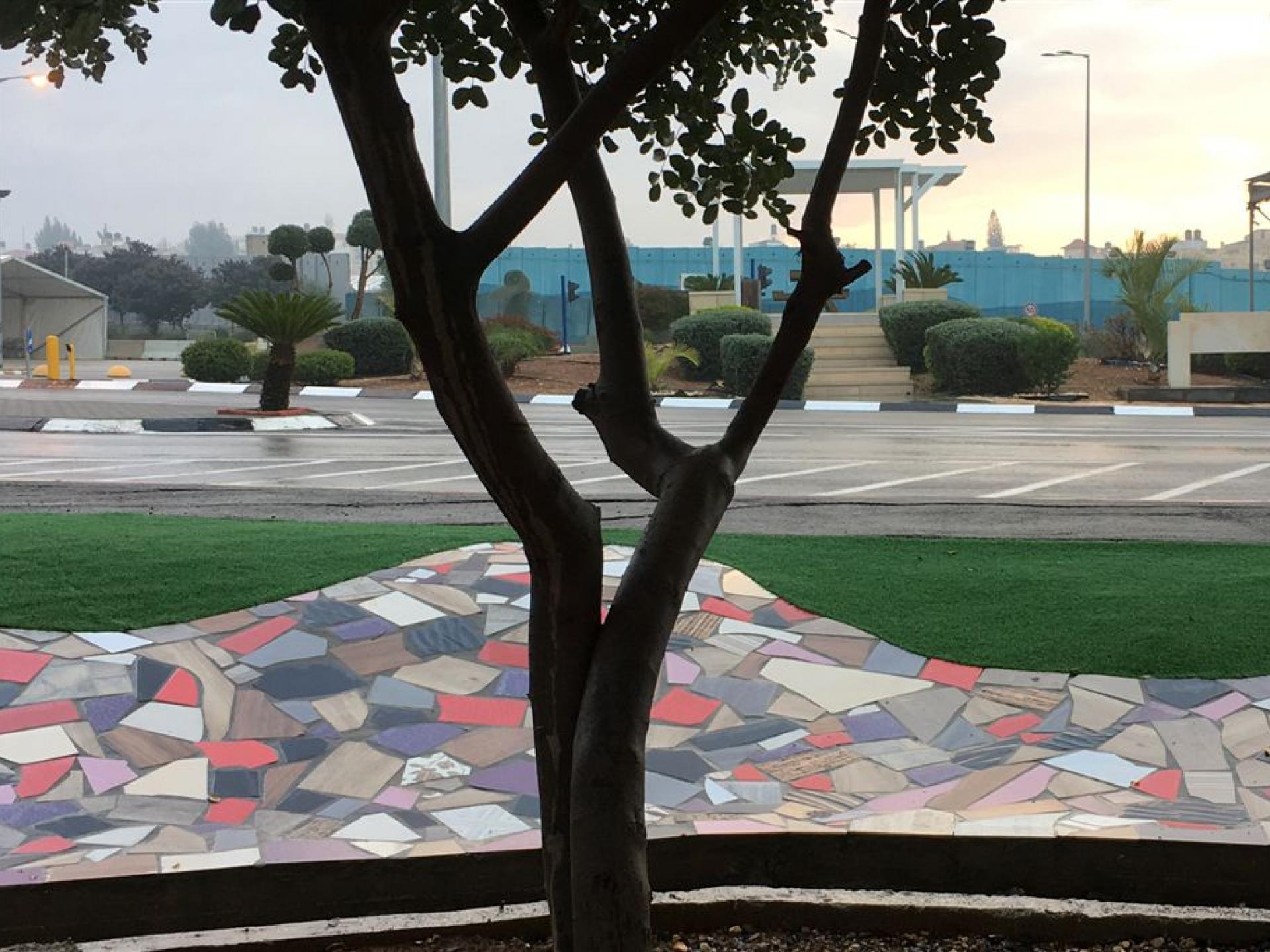 פארק מחסום ג'למה, ברקע חומת ההפרדה