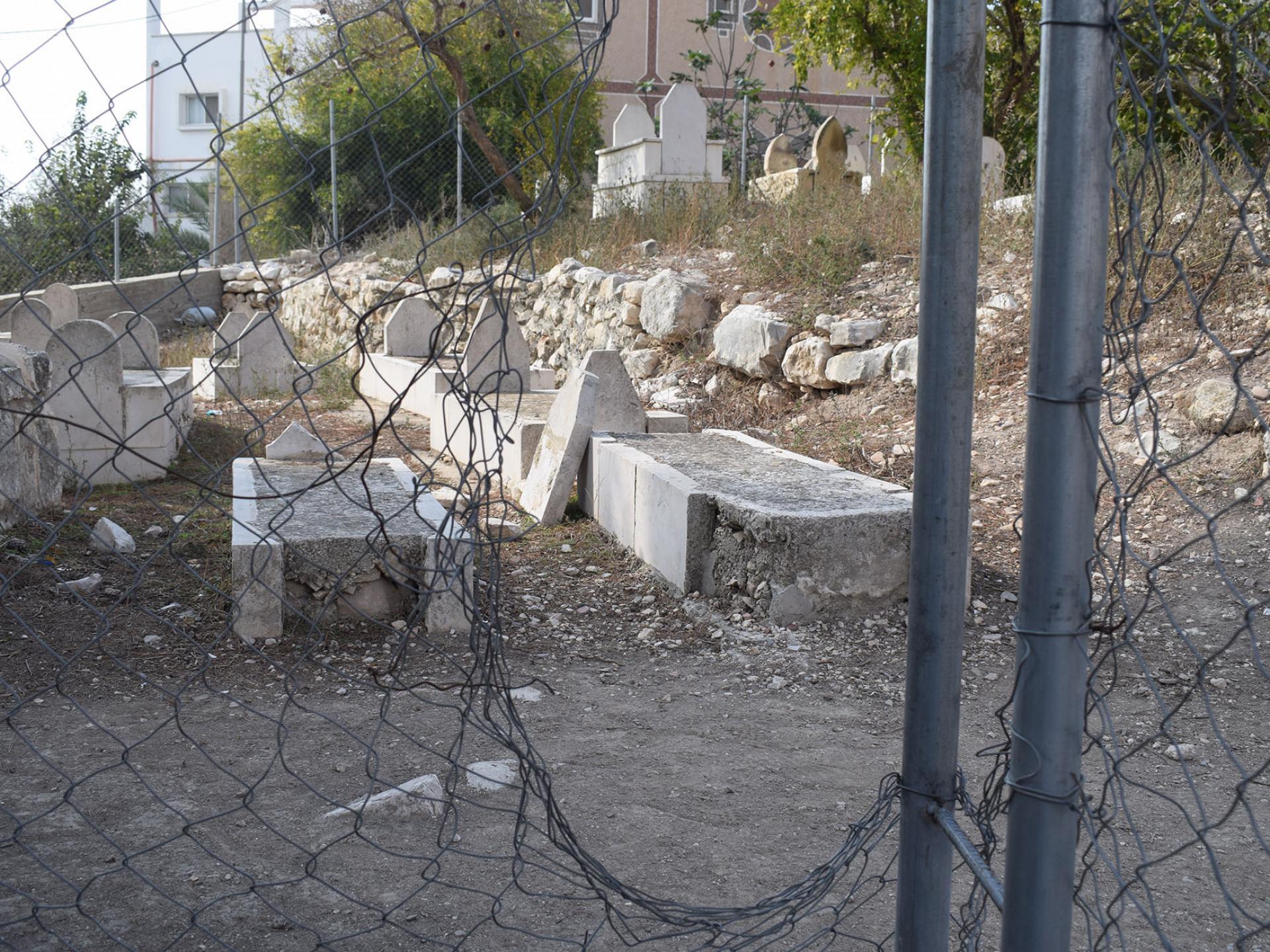 Destroyed gravestones near the tomb of Caleb Ben Yefune