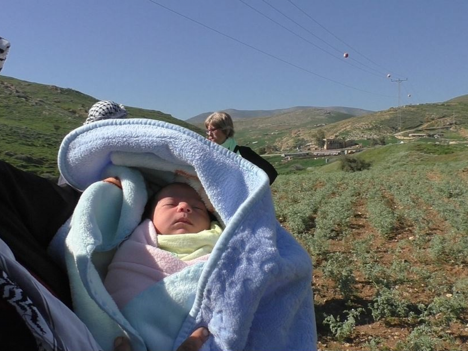 The infant was evacuated with her family