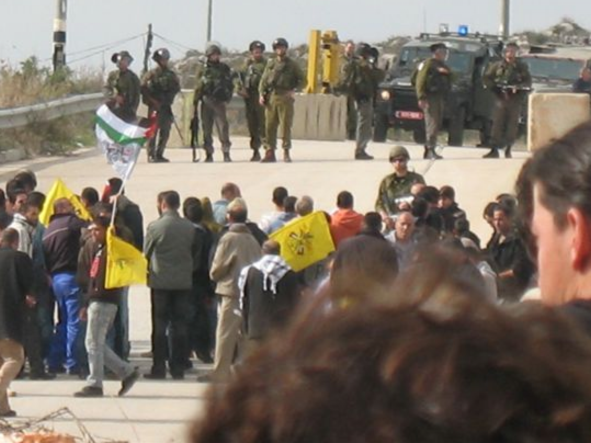 Soldiers and Demonstrators in Tense Confrontation