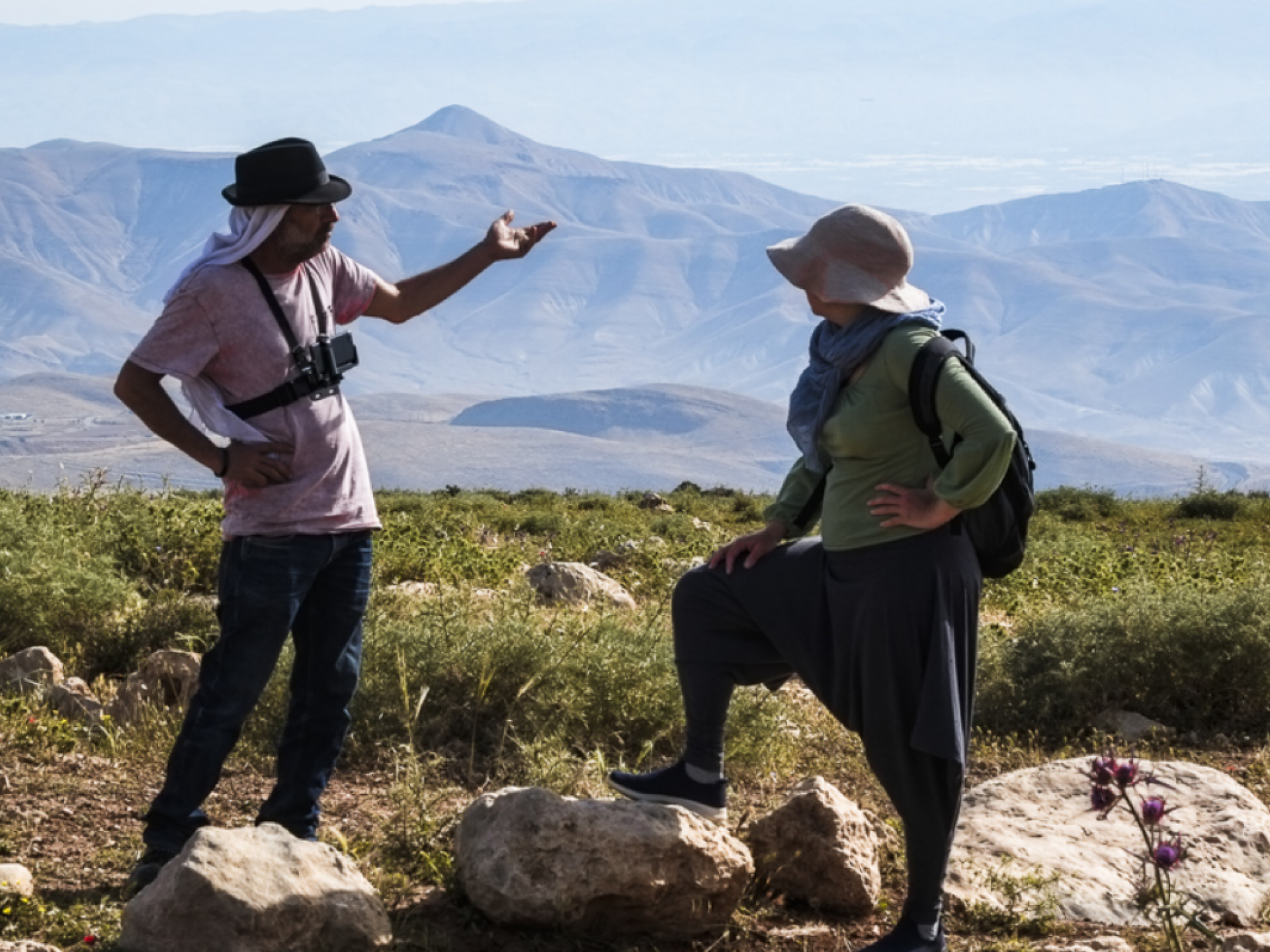 Jordan valley: Guy and Tamara, who accompanied the Palestinians herd,  enjoying the view