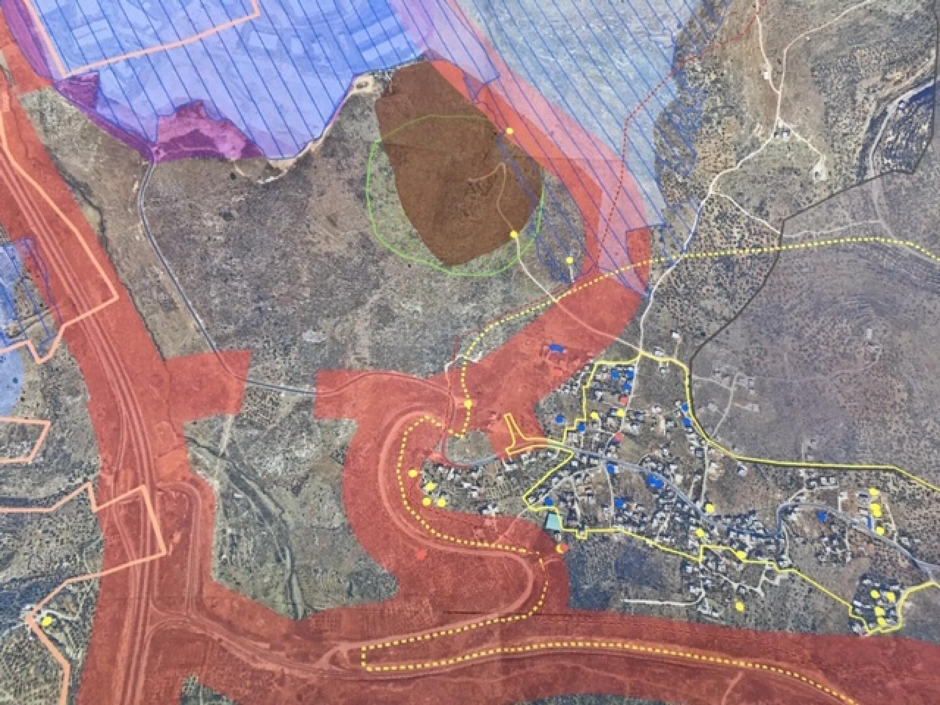 """מפת ברוקין עם סימון שטח """"אדמות מדינה"""""""