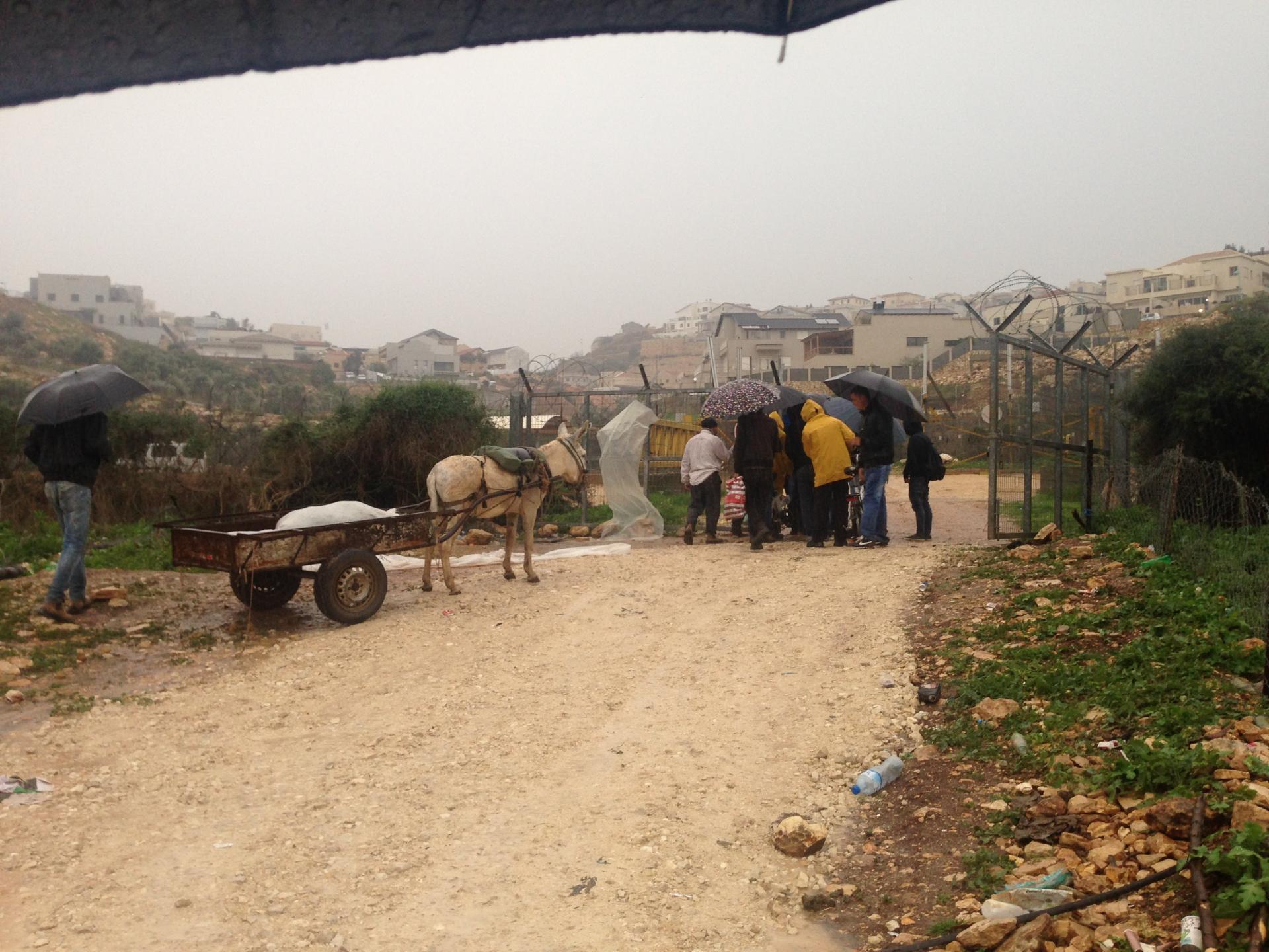 קבוצת אנשים לפני המעבר במחסום