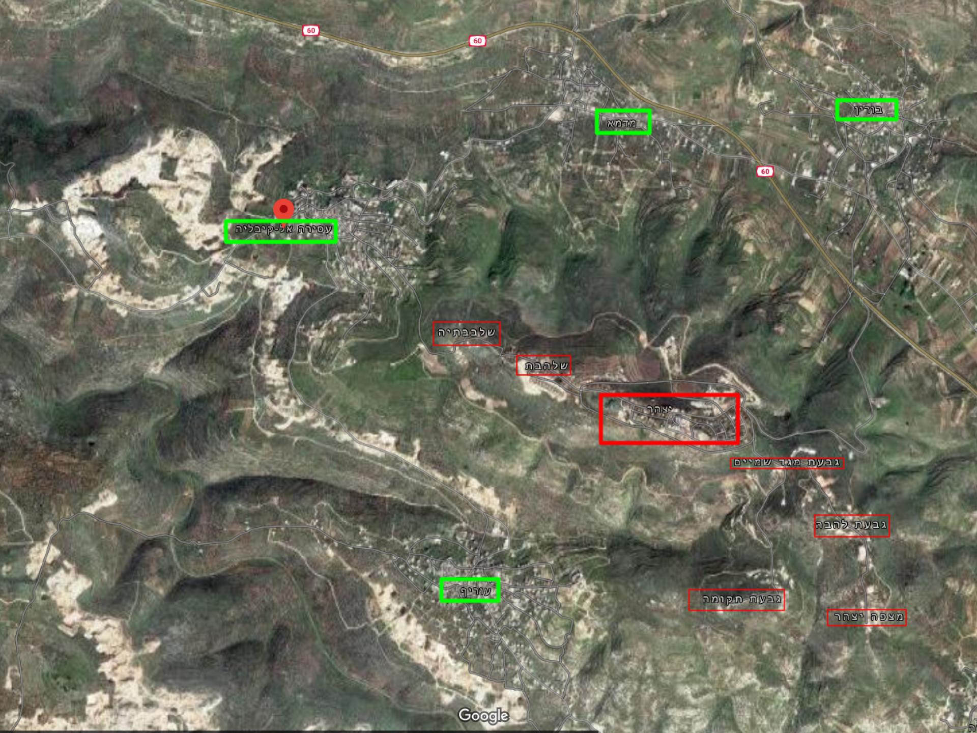 מפה מתארת את מיקום התנחלות יצהר בקרב הכפרים הפלסטינים
