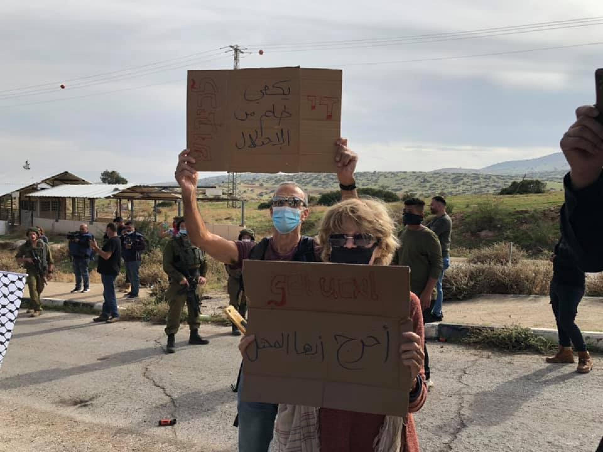שלטים בהפגנה