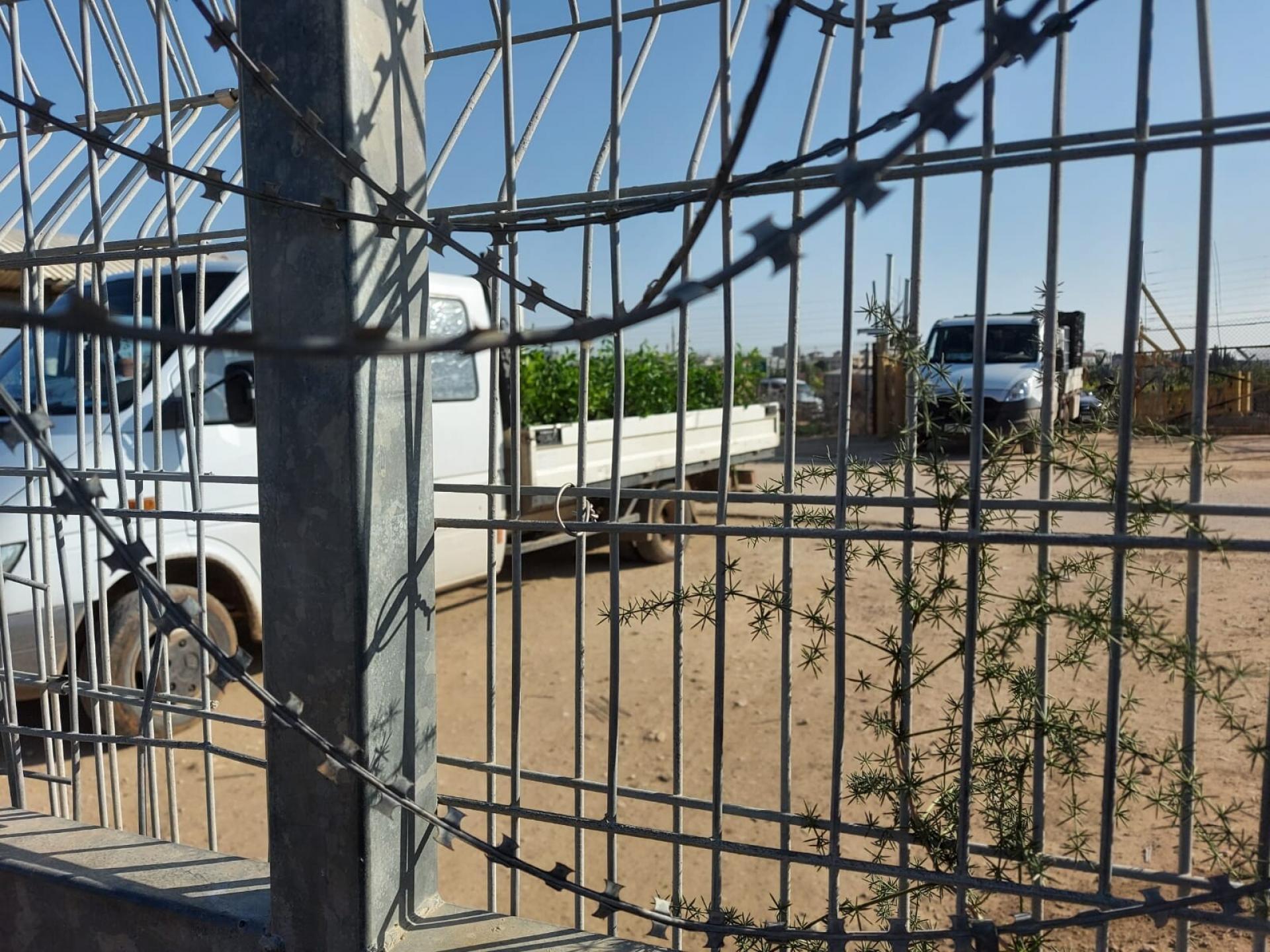 רכבים מחכים משני צידי המחסום
