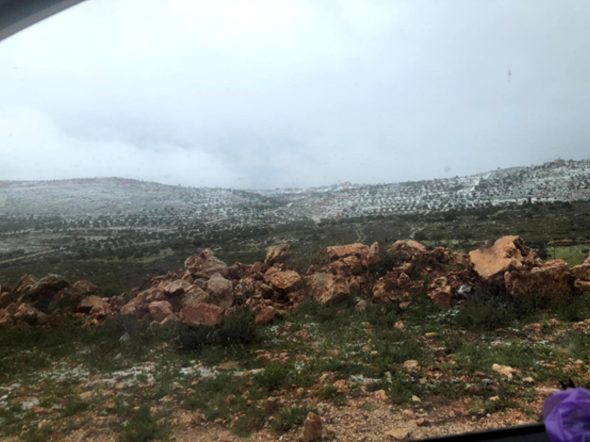 תמונת נוף מהבקעה, הרים מושלגים בחלקם וצמחיית חורף