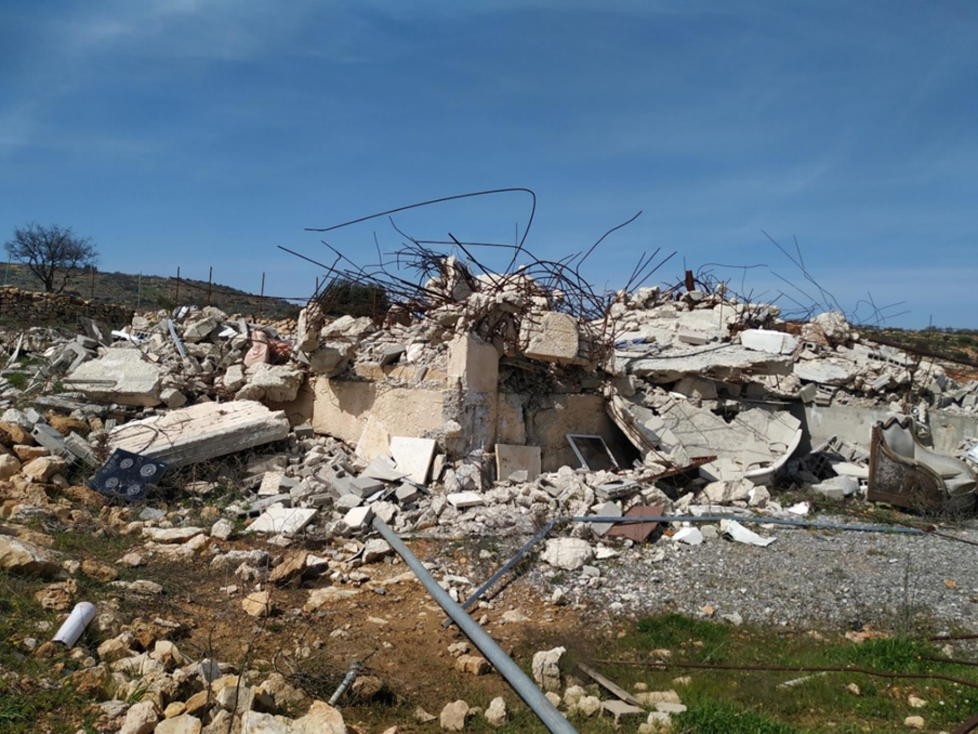הריסות אחד מארבעת הבתים של משפחת מ. סלאח בחירבת עליא  בגוש עציון