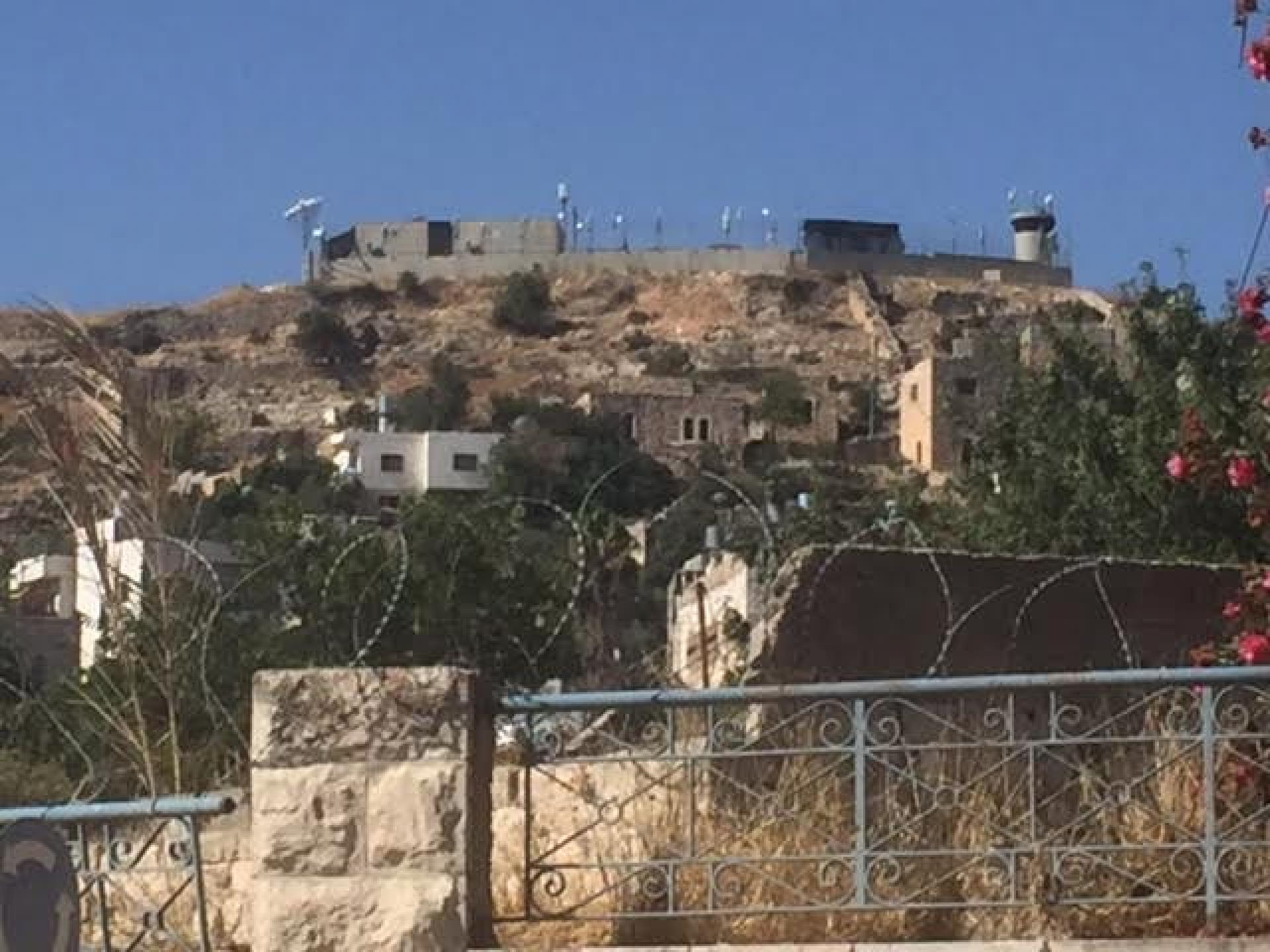 The pillbox and the camp on the hill of Abu Snan neighborhood
