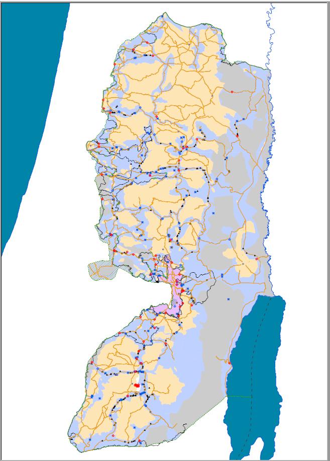אזורי הכיבוש בגדה המערבית: האזורים המותרים לפלסטינים בצבע חום בהיר. כל היתר שטח C עם מעל 500 מחסומים וחסימות
