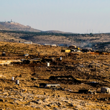 View of the Rashash Bedouin encampment – with the village of Duma in the far right, where the atrocious firebombing took place